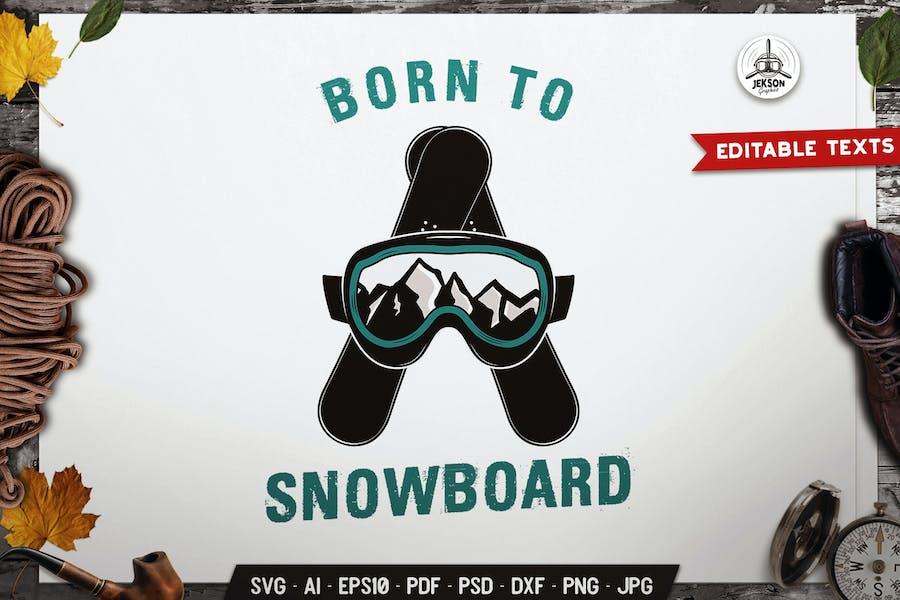 Snowboarding Logo Badge Vector Travel Graphic SVG