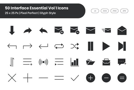 50 Interface Essential Icons Vol 1 - Glyph