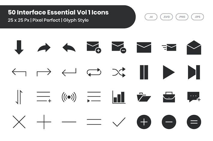 50 основных Иконки интерфейса, том 1 - глиф