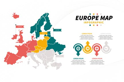 Europe Map Population Infographic Template