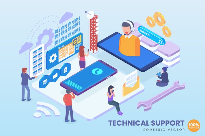 Thumbnail for Isometric Technical Support Vector Concept