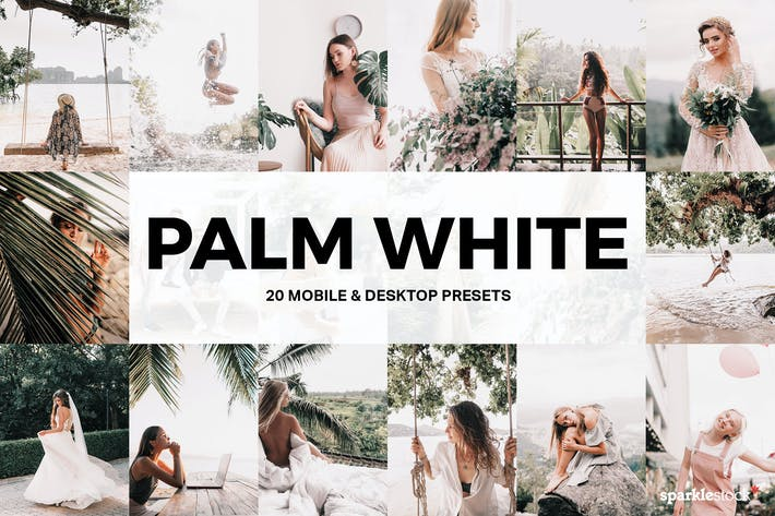 Thumbnail for 20 Palm White Lightroom Presets and LUTs