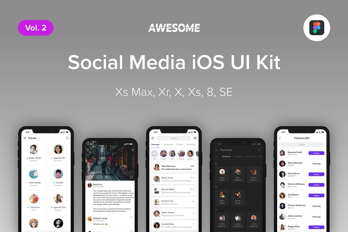 Thumbnail for Awesome iOS UI Kit - Social Media Vol. 2 (Figma)