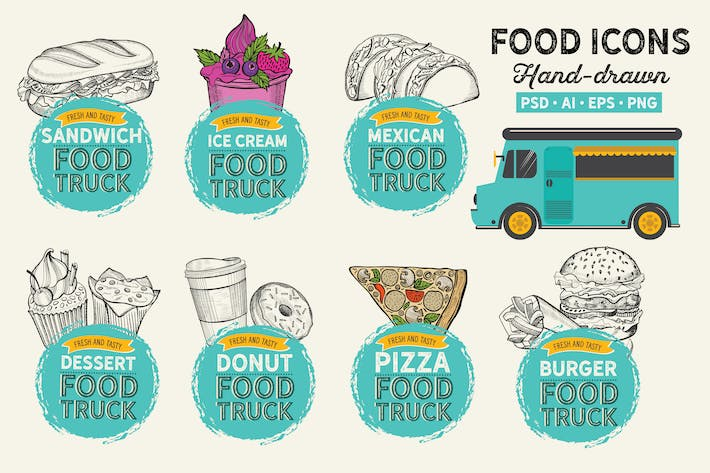 Thumbnail for Food Truck Hand-Drawn Graphic