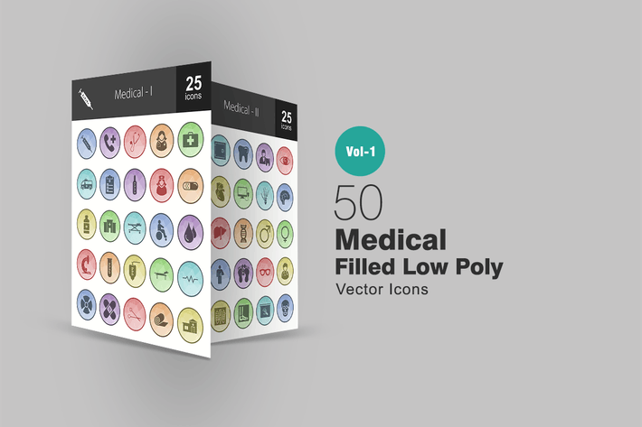 Thumbnail for 50 Medical Filled Low Poly Icons