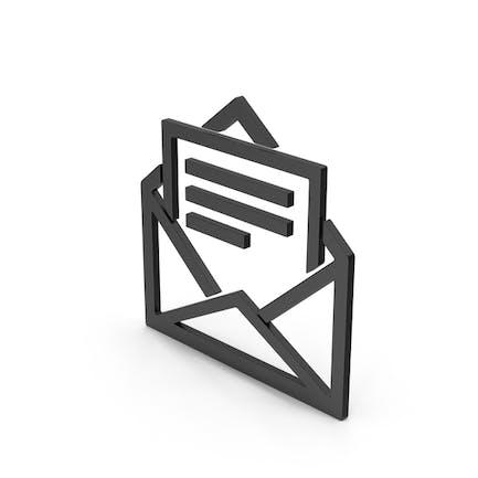 Symbol Letter With Paper Black