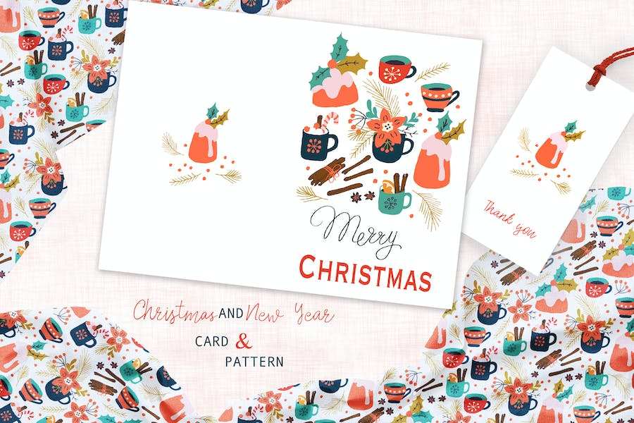 Spicy Christmas Greeting Card and Pattern