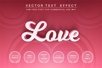 Pink love - editable text effect,  font style