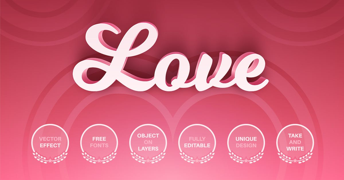 Download Pink love - editable text effect,  font style by rwgusev