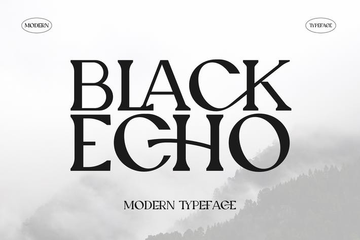 Thumbnail for Black Echo Modern Ligature Font