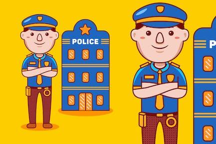 Police Profession Cartoon Vector