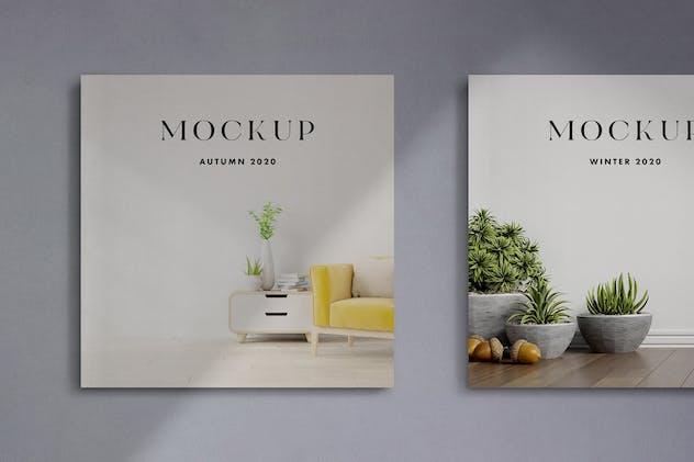 Square Cover Magazines Mockup