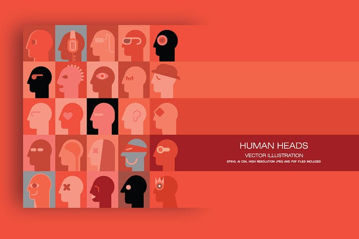 Thumbnail for Human Heads vector illustration