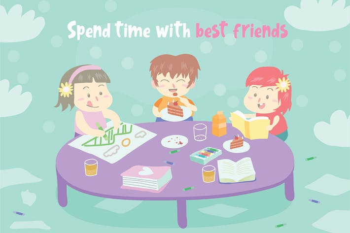 Cover Image For With Friends - Vector Illustration