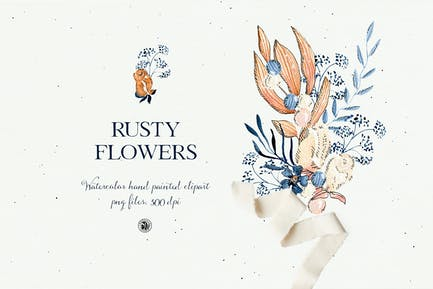 Rusty Flowers - watercolor floral set