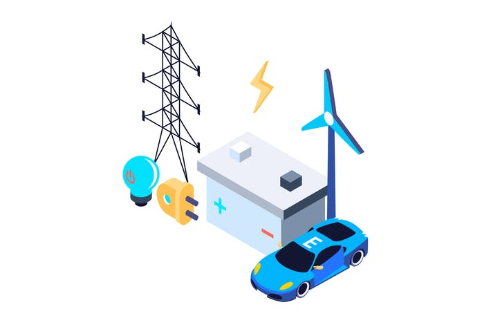 Thumbnail for Electric Power Isometric Illustration