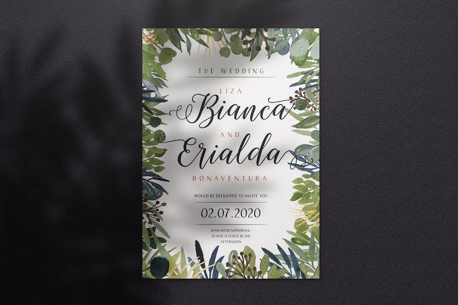 Watercolor Wedding Invitation A4 - Style 06