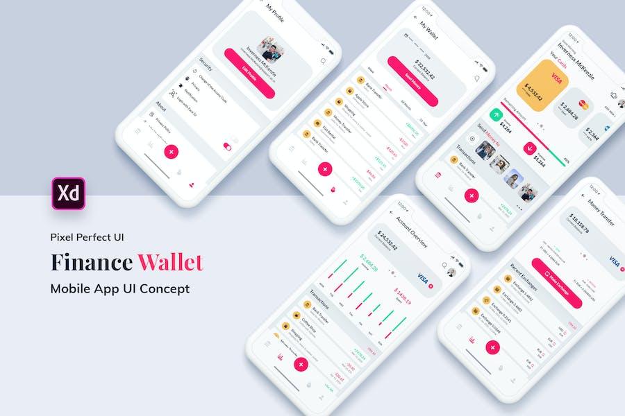 Finance Wallet MobileApp Ui Kit Light Version (XD)