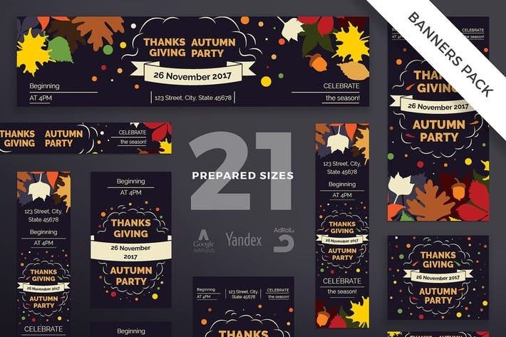 Thumbnail for Thanksgiving Party Banner Pack Template