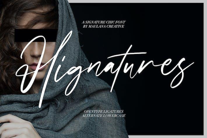 Thumbnail for Hignatures Signature Brush Font