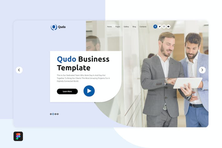 Thumbnail for Qudo Business Hero Header Template 2