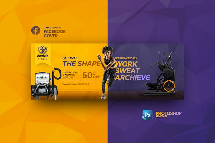 Thumbnail for Daniela Fitness Facebook Cover Photoshop Template