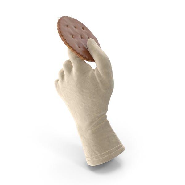 Handschuh mit einem kreisförmigen Cracker mit Schokoladenüberzug