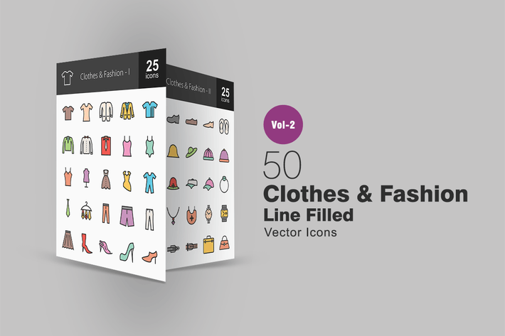 Thumbnail for 50 Clothes & Fashion Line Filled Icons