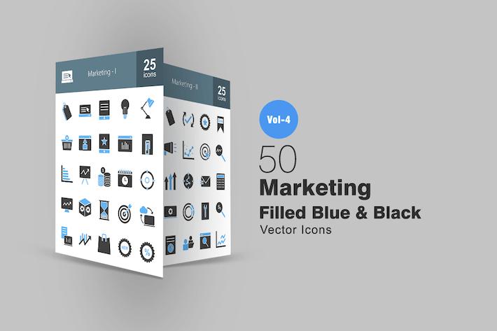Thumbnail for 50 Маркетинговые синие и черные Иконки