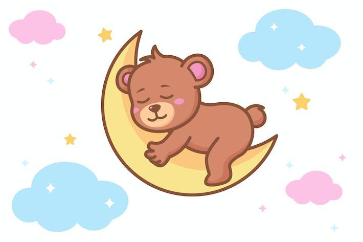 Bär schläft auf dem Mond