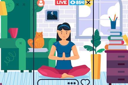 Home Yoga Live Streaming Illustration