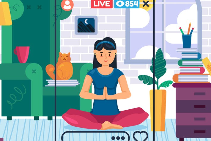 Thumbnail for Home Yoga Live Streaming Illustration
