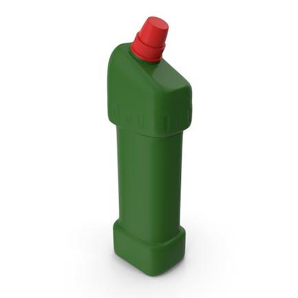 Botella de producto de limpieza verde con tapa roja