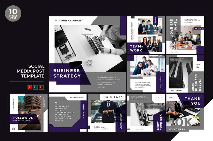 Thumbnail for Business Strategy Social Media Kit PSD & AI