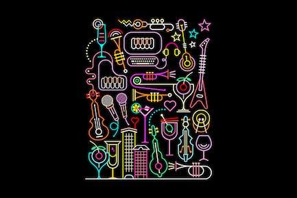 Karaoke Party Vector Illustration