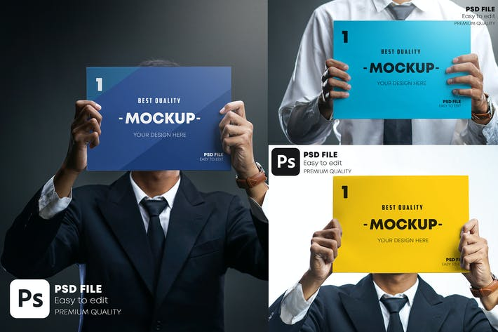 Thumbnail for Businessman Holding Poster Mockup Set