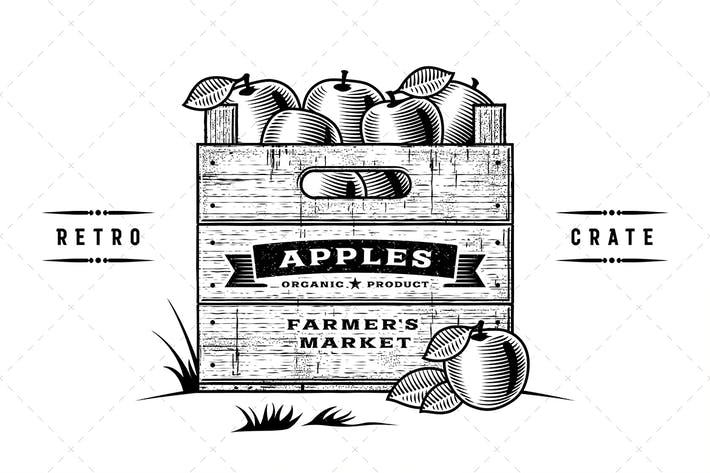 Thumbnail for Retro Crate Of Apples Black And White