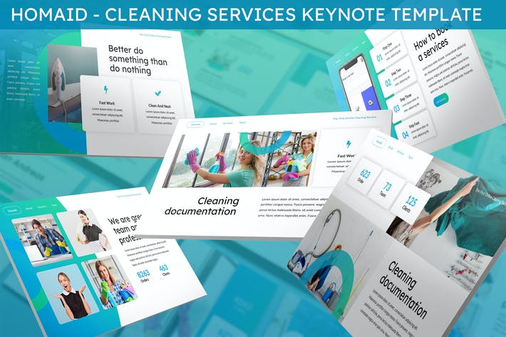 Thumbnail for Homaid - Cleaning Services Keynote Template