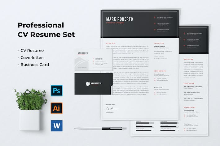 Cover Image For Professional CV Resume Set Vol. 04