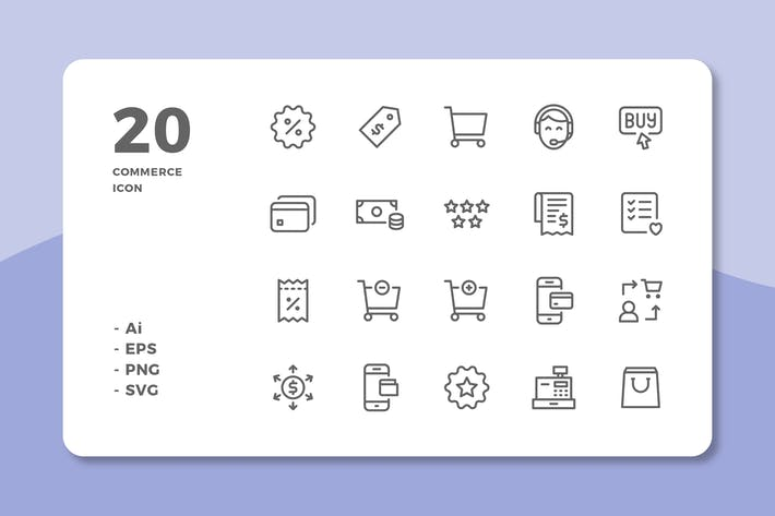 Thumbnail for 20 Commerce Icons (Line)