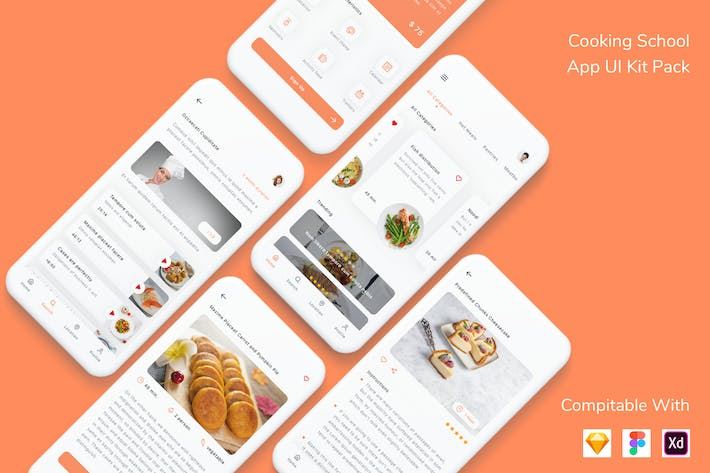 Thumbnail for Cooking School App UI Kit Pack