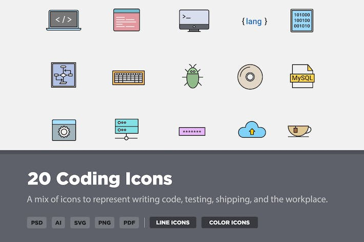 Thumbnail for 20 Coding Icons