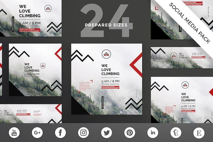 Thumbnail for Mountain Tours Social Media Pack Template