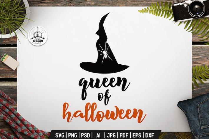 Thumbnail for Королева Хэллоуина Логотип Ретро Вектор Винтаж Значок