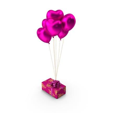 Gift Box Pink Heart Balloons