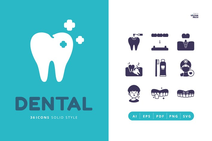 Thumbnail for 36 Dental Solid Style Icons