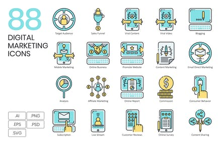 88 Digital Marketing Icons & Online Business Icons