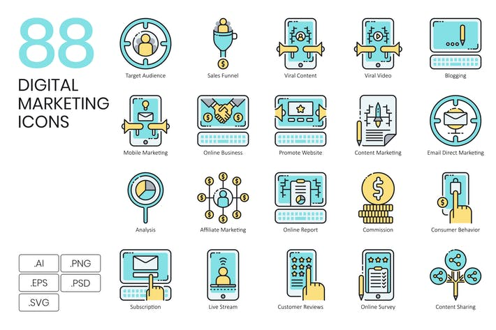 Thumbnail for 88 Digital Marketing Icons