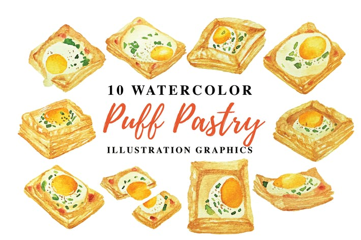 Thumbnail for 10 Watercolor Puff Pastry Illustration Graphics