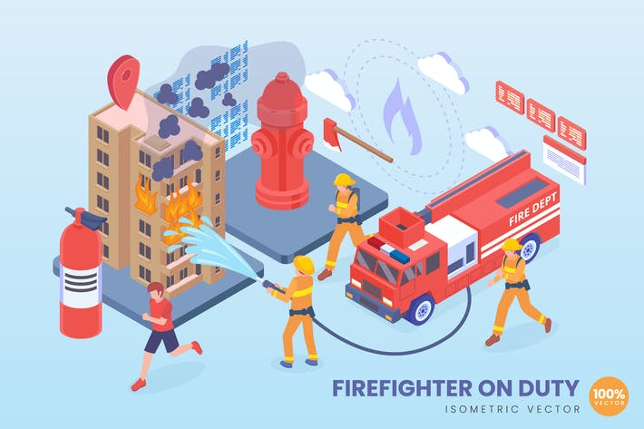 Isometric Firefighter On Duty Vector Concept